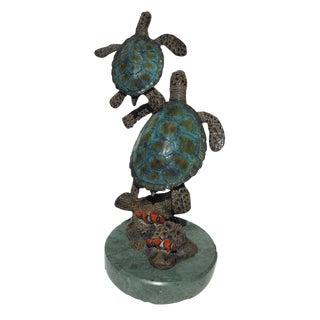 Enameled Bronze Sea Turtles Sculpture