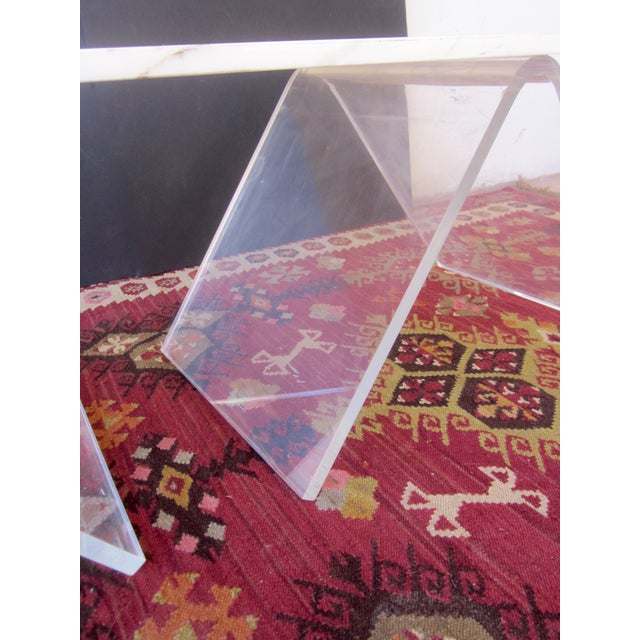 Italian Lucite & Marble Coffee Table - Image 8 of 11