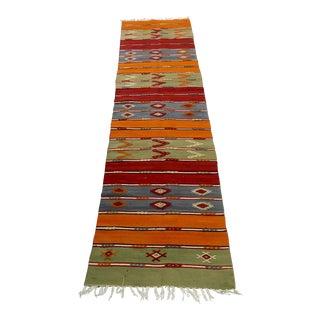 Traditional Vintage Kilim Rug - 1′10″ × 7′4″