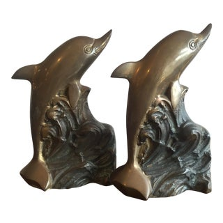 Vintage Solid Bronze Dolphin Bookends - a Pair