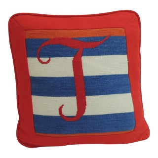 Vintage Red, White and Blue Tapestry Petite Pillow.