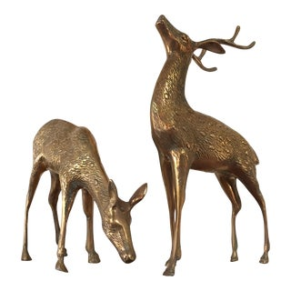 Vintage Brass Spotted Deer Figurines - a Pair