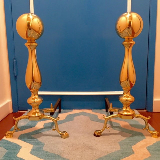 Large Georgian-Style Brass Andirons - Pair - Image 3 of 5