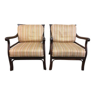 Pair of Wood Frame Arm Chairs & Stripe Fabric Cushions