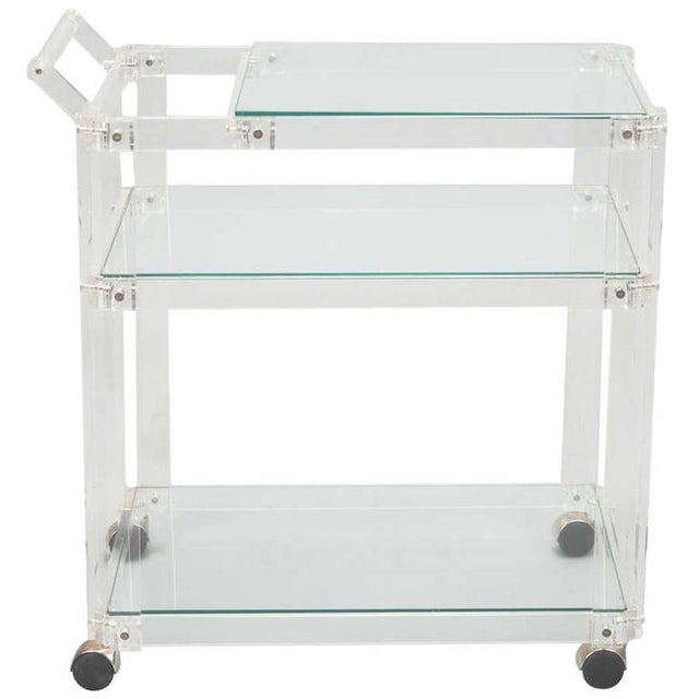 Mid-Century Lucite And Glass Bar Trolley Cart - Image 1 of 4
