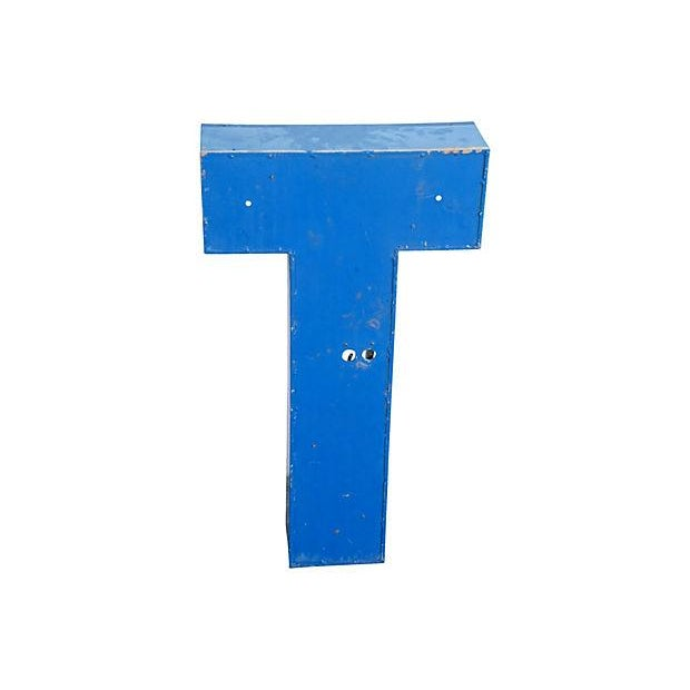 Image of Industrial Blue & White Metal Marquee Letter T