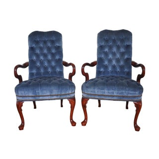 Fairfield Blue Tufted Library Arm Chairs - A Pair