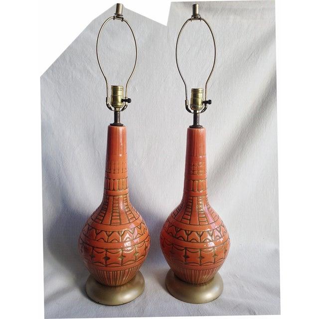 Orange Mid-Century Lamps - A Pair - Image 2 of 4