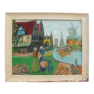 1960s Oil Painting of Dutch Scene