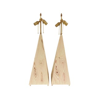 Obelisk Shape Tole Lamps - A Pair