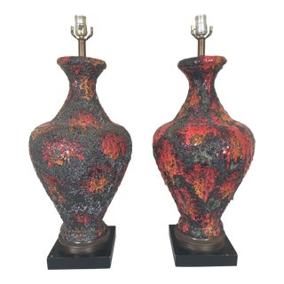 Glazed Fat Lava Style Ceramic Lamps - A Pair