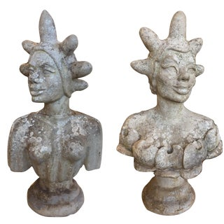Hand Carved Stone Busts by Walt Russell c. 1980