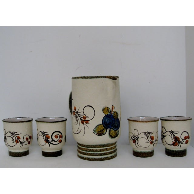 Vintage Hand Painted Italian Pitcher & Cup Set - Image 5 of 7