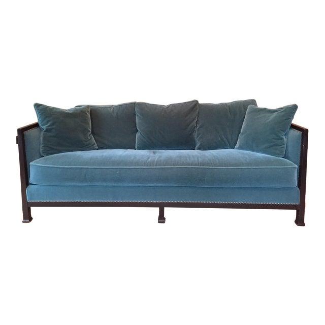 Ferguson & Copeland Belgium Mohair Peacock Green Sofa - Image 1 of 4