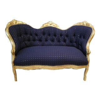 Antique Settee in Navy Linen With Gilded Frame