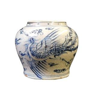 Gray White Blue Phoenix Ceramic Pot