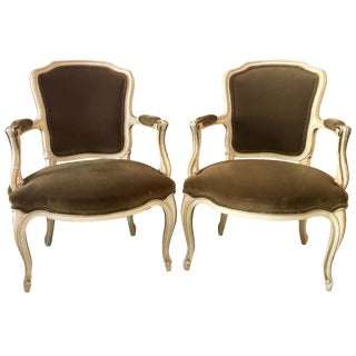 French Victorian Velvet Armchairs - A Pair