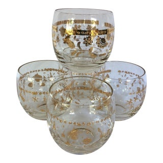 5 Vintage Gold Culver Roly Poly Glasses
