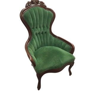Green Velvet Victorian Parlor Chair