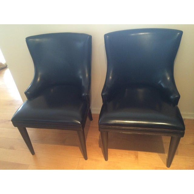 Image of Baker Replica Black Leather Dining Chairs - A Pair