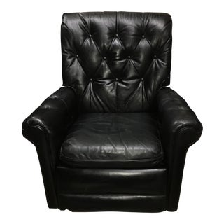 Mid-Century Chesterfield Black Tufted Leather Recliner Chair