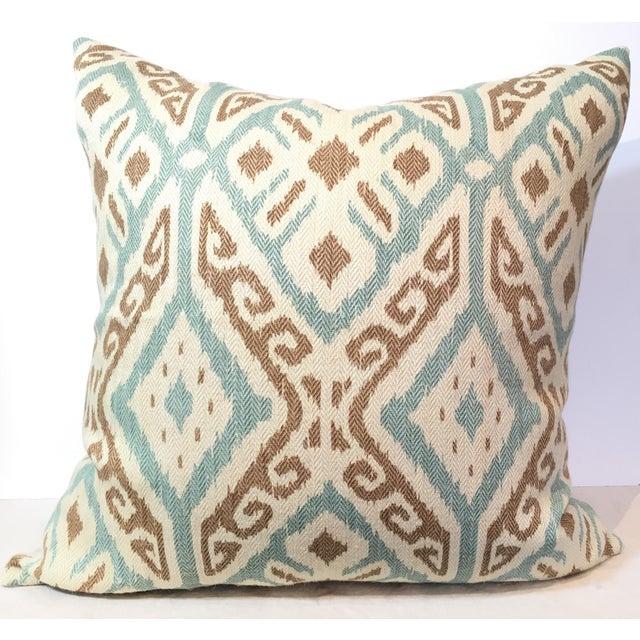 Taupe & Aqua Ikat Pillow - Image 2 of 4