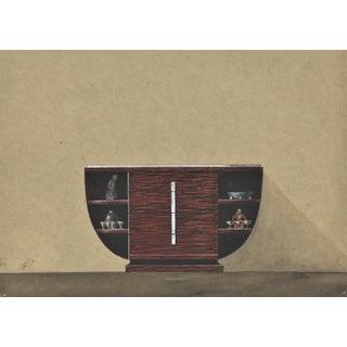 Original French Art Deco Furniture Illustration