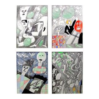 Parties of Four Tetraptych by Benicio Nunez