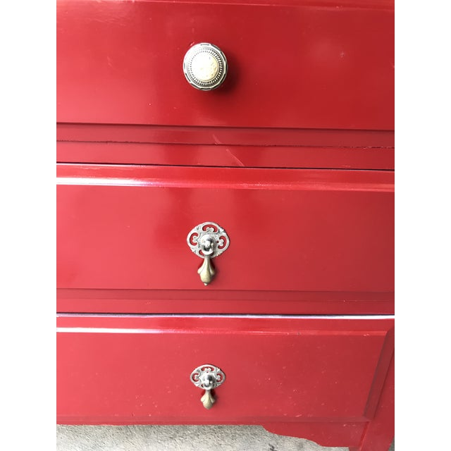 Candy Apple Red Four Drawer Buffet - Image 5 of 8