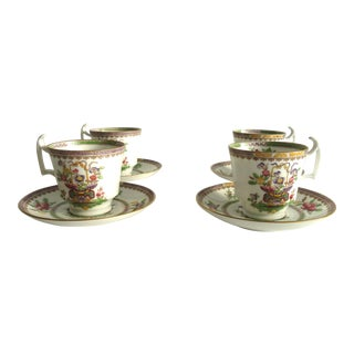 Chinoiserie Demitasse Cup & Saucer Vintage Spode for Harrods - Set of 4