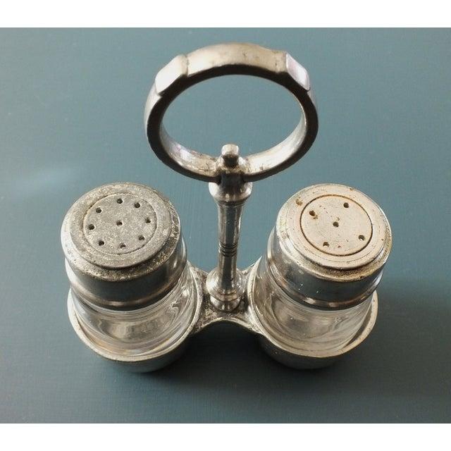 Arte Italica Tavola Pewter Salt & Pepper W/Caddy - Image 5 of 8