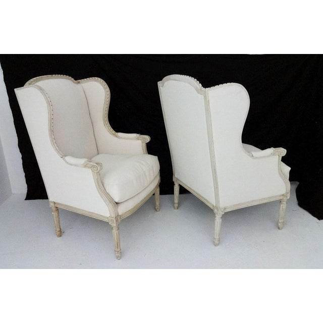 Antique Bergere Wingback Chairs - A Pair - Image 3 of 8