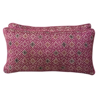 Pink Hmong Textile Pillows - Pair
