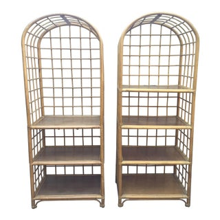 Vintage Bamboo Etagere - Pair
