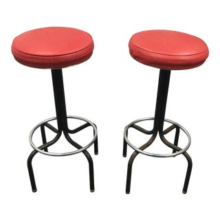 Vintage Red Barstools by Howells of St. Charles Illinois - A Pair