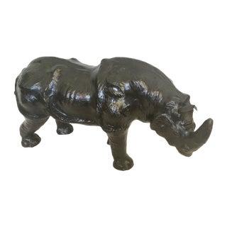 Vintage Italian Large Black Leather Rhinoceros