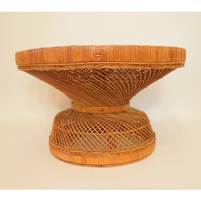 Image of 1970s French Woven Reed Rattan Coffee Table