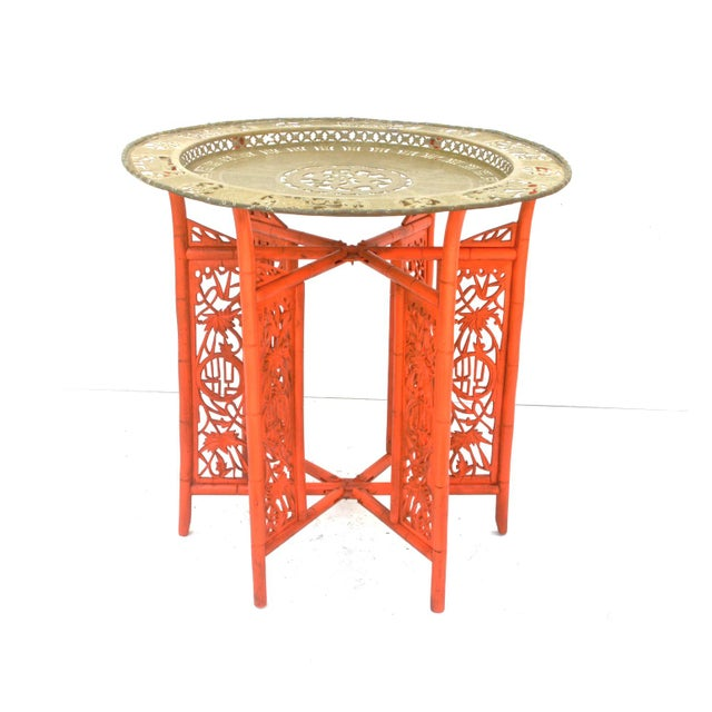 Chinese Brass Tray on Orange Stand - Image 2 of 8
