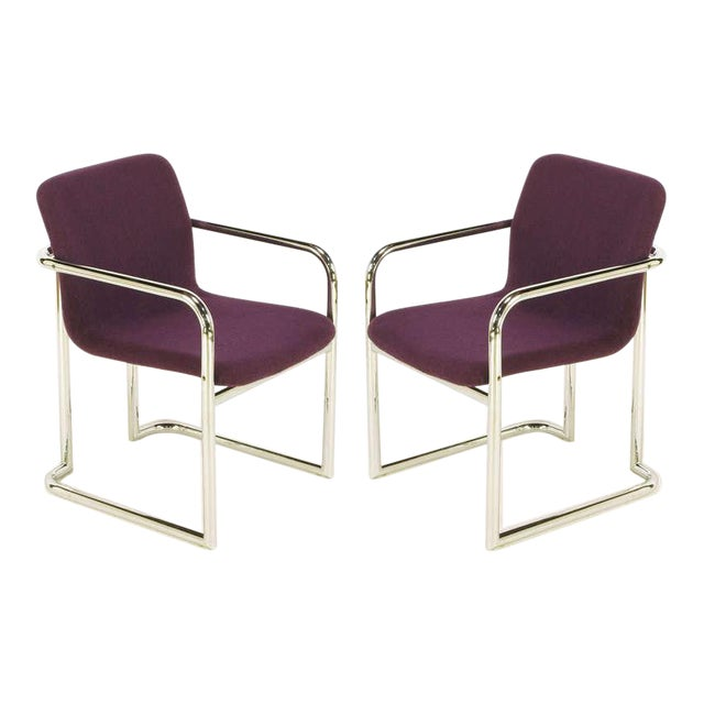 Pair Chrome & Violet Wool Sled Arm Chairs - Image 1 of 9