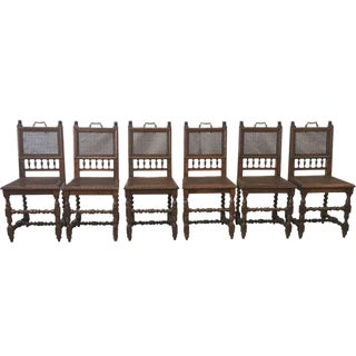 French Antique Barley Twist Dining Chairs - Set of 6