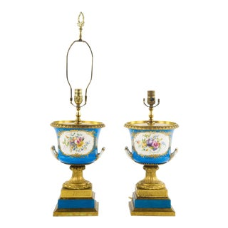 19th C Sevres Celeste Blue Urn Converted Lamps - A Pair
