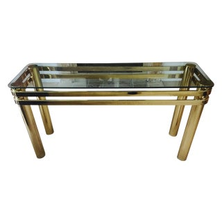 70's Brass and Glass Console