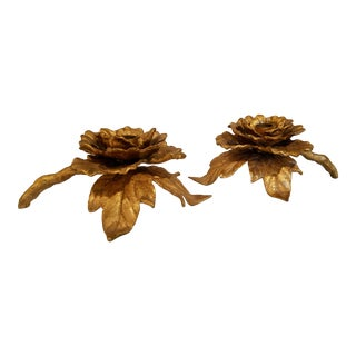 1955 Japanese Gilded Iron Chrysantemum Candle Holders - a Pair