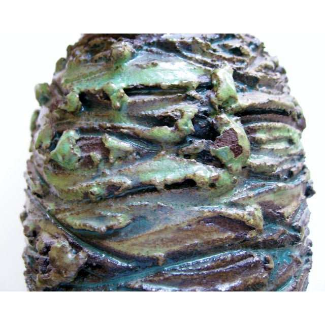 Icelandic Green & Charcoal Lava Vase - Image 5 of 6
