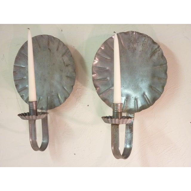 Vintage New England Tin Sconces - Pair - Image 3 of 4