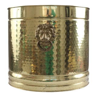Large Neo Classical Brass Planter - Lion's Heads