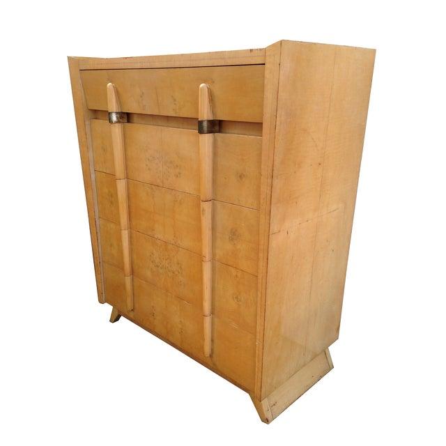 Mid Century Modern Burlwood Highboy Dresser - Image 2 of 5