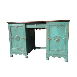 Antique Green Two-Sided Desk