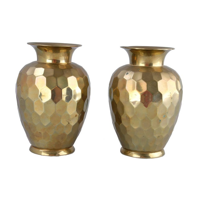 Decorative Brass Vases - Pair - Image 2 of 7