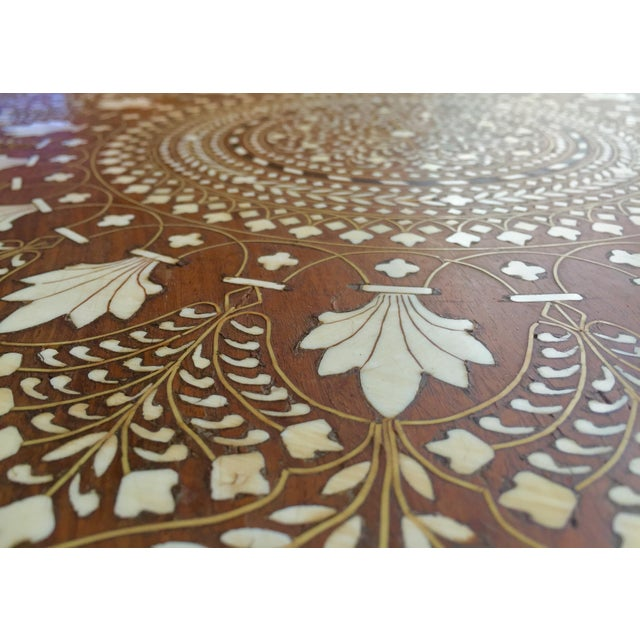Eclectic Vintage Bone Inlay Elephant Accent Table - Image 5 of 6